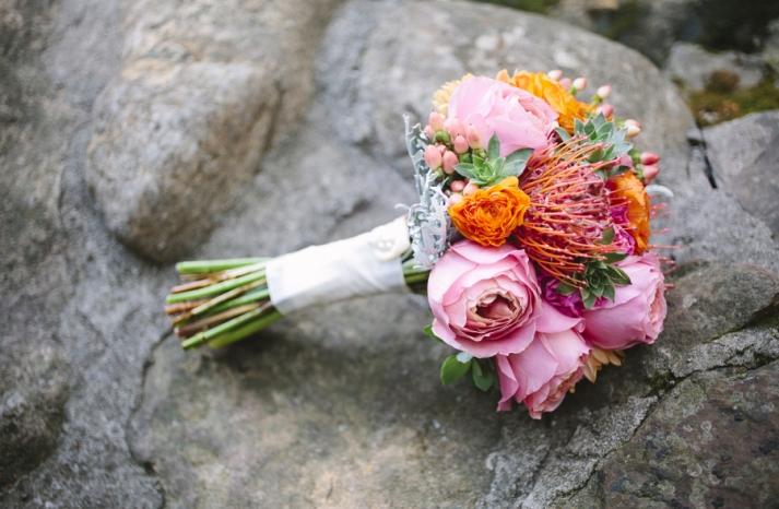 Bright summer wedding pink and orange bridal bouquet