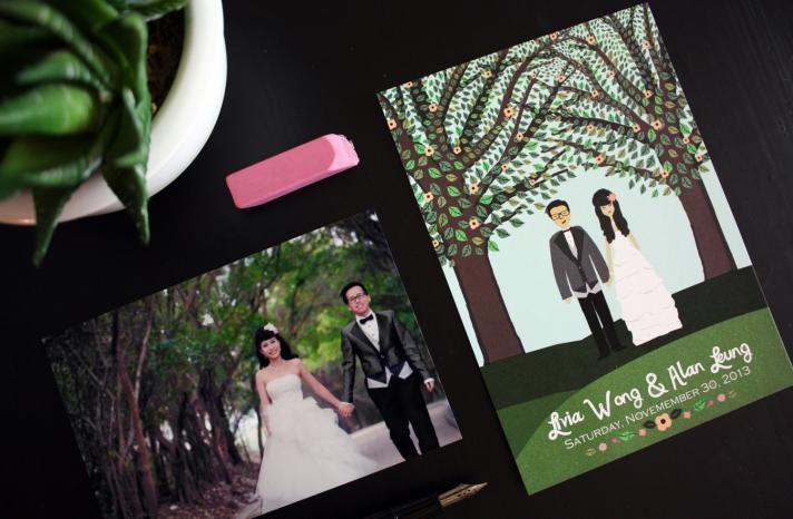 custom wedding portraits for illustrated invitations