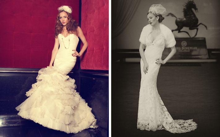 old hollywood brides in mermaid wedding dresses
