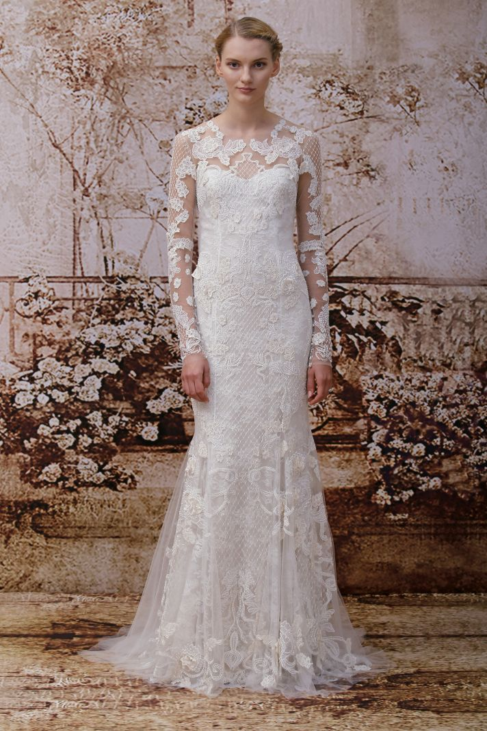 Monique Lhuillier Fall 2014 wedding dress look 16