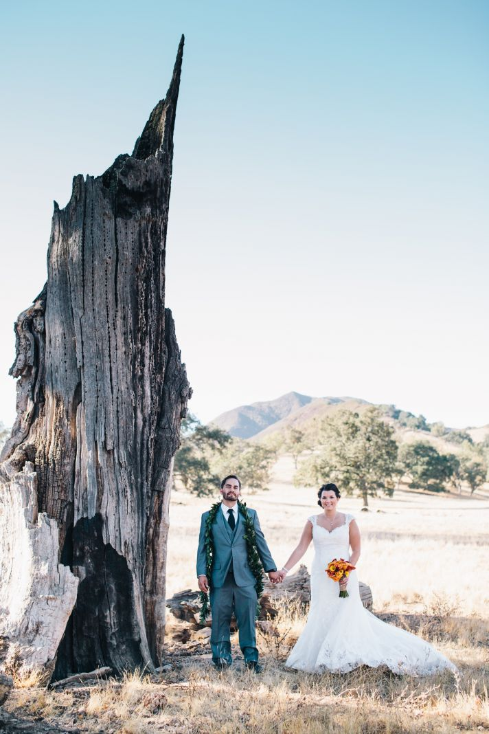 bride and groom portrait at ranch in central california