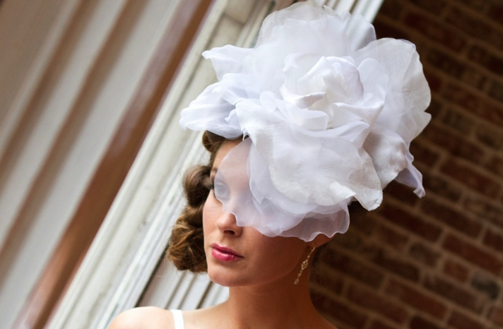 ruffled flower wedding fascinator for daring brides