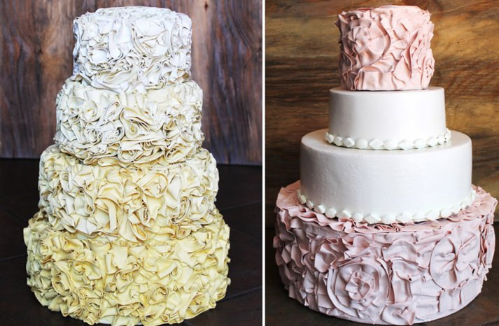 yellow ombre and pink and ivory ruffled wedding cakes