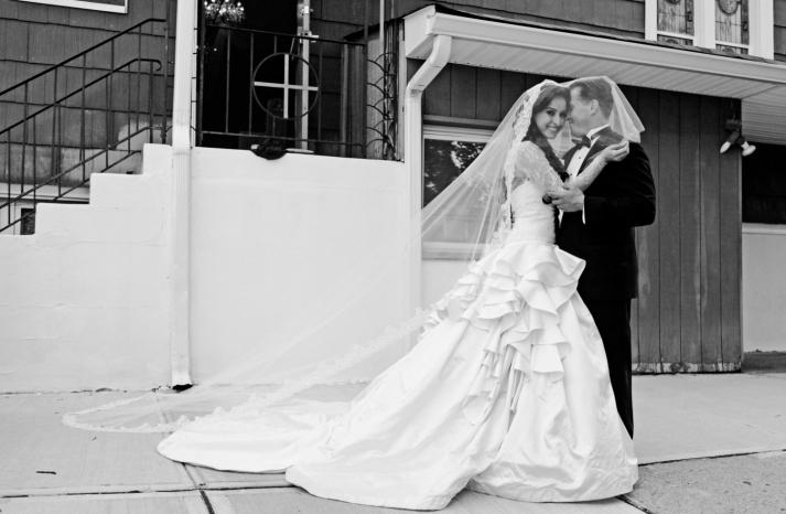 classic ball gown wedding dress with ruffled peplum