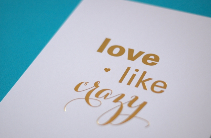 Love Like Crazy white and gold wedding sign