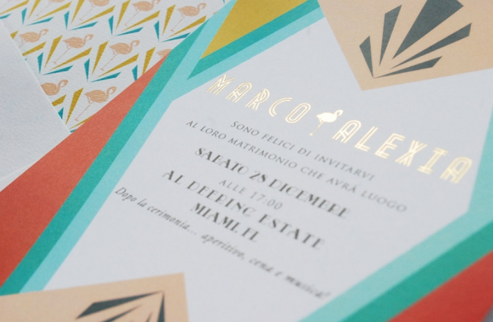 Bold art deco wedding invitation with gold foil accents