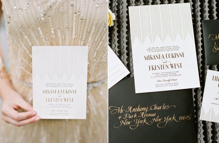 art deco letterpress wedding invitations with gold foil calligraphy