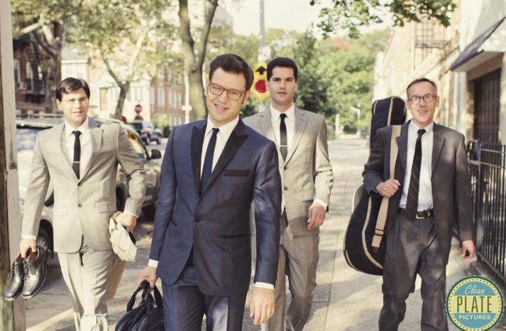 retro inspired groom and groomsmen attire