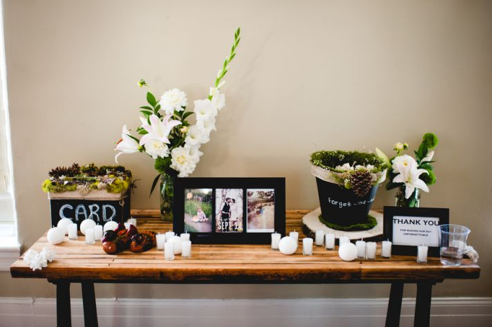 Bride and grooms rustic elegant wedding reception sweetheart table
