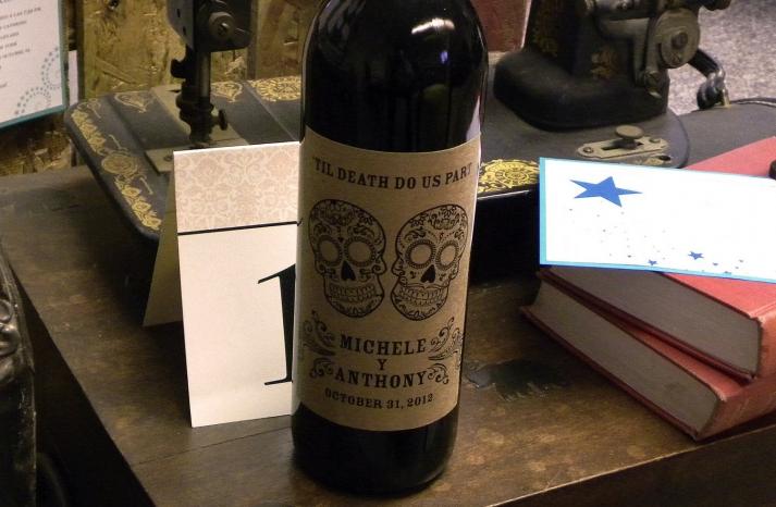 kraft paper wedding wine labels for halloween