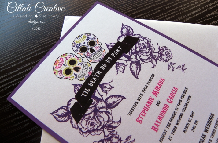 purple white black and pink wedding invitations for Day of the Dead