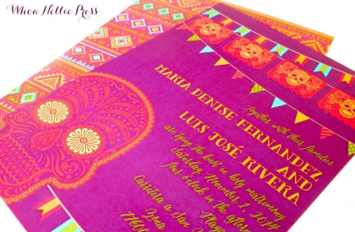 bright day of the dead wedding invites