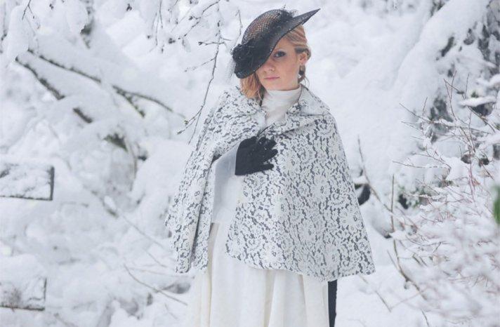 Ivory lace over black wedding coat