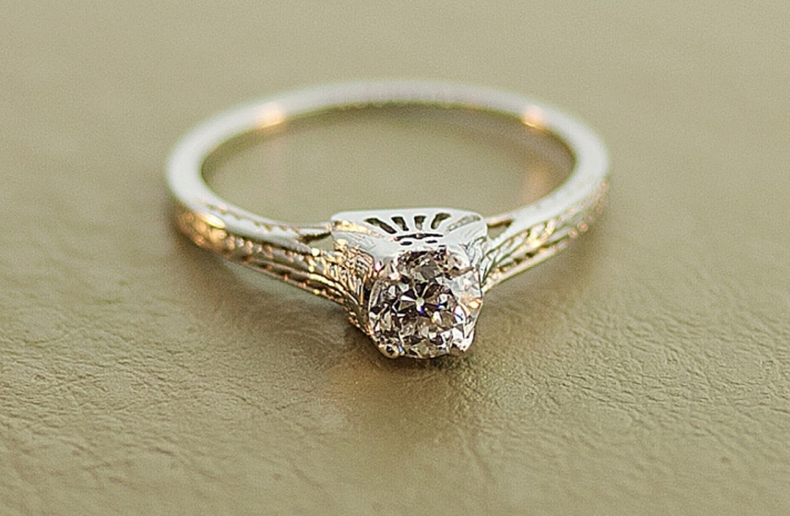white gold diamond engagement ring from the 1920s
