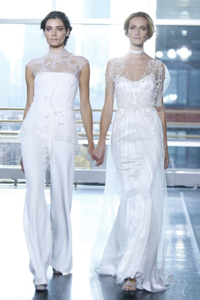 White hot trend not your mother 39 s wedding dress onewed for Dress pant outfits for wedding