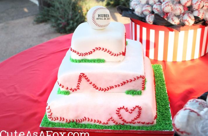 3 tier baseball themed wedding cake