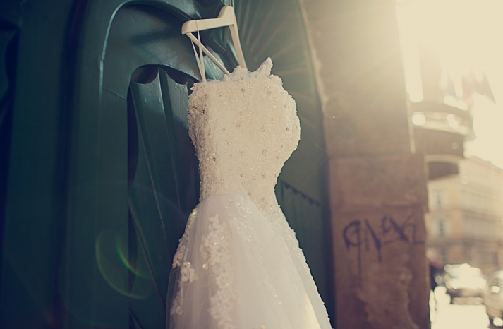 tulle wedding gown with beaded corset bodice