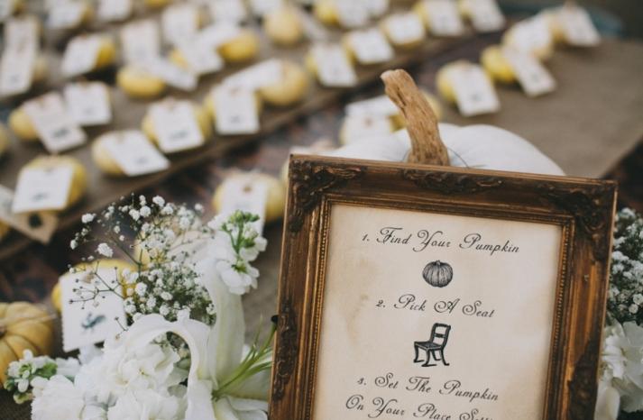 Portland real wedding pumkin seating sign