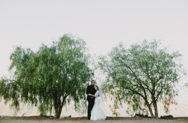 Portland real wedding mod goth bride and groom outside