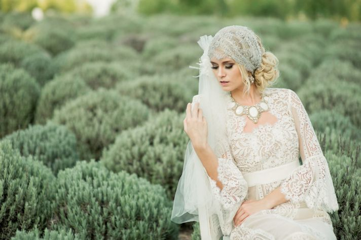 The crocheted wedding dress romantic bohemian bride wears sleeved crocheted wedding dress junglespirit Images