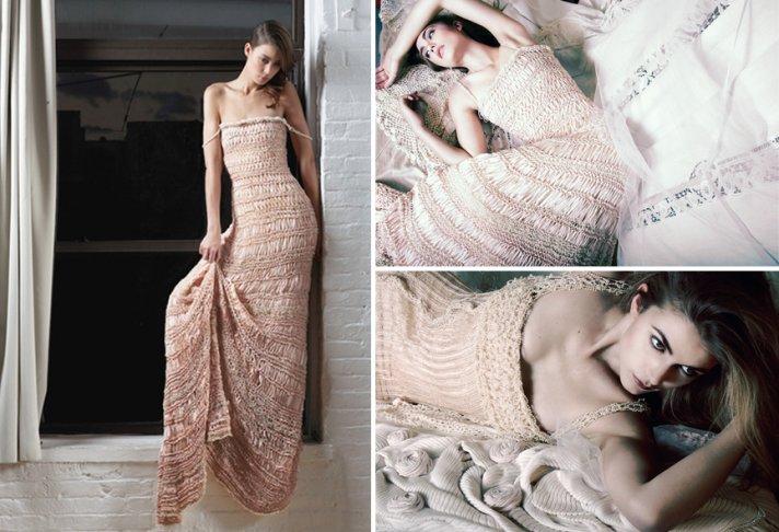 Blush crochet knit wedding dress