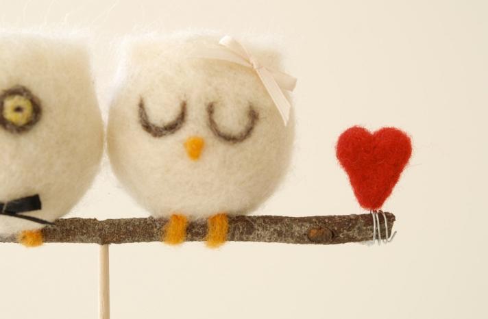 Sweet owl bride and groom wedding cake topper