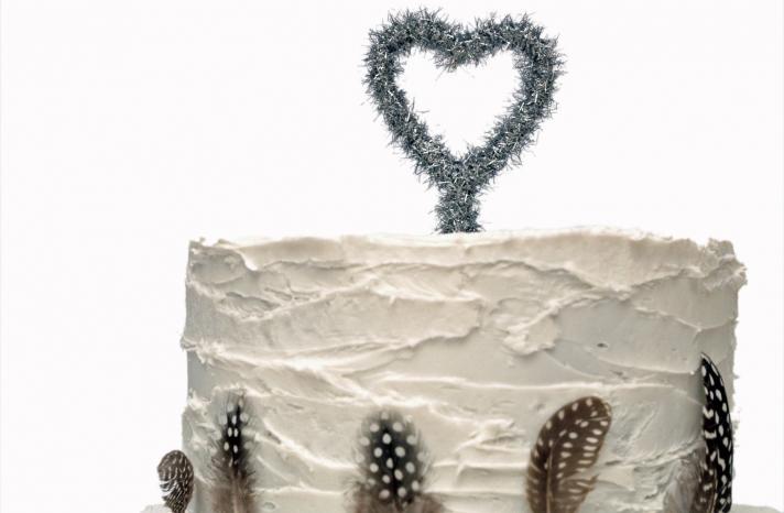 silver tinsel heart wedding cake topper