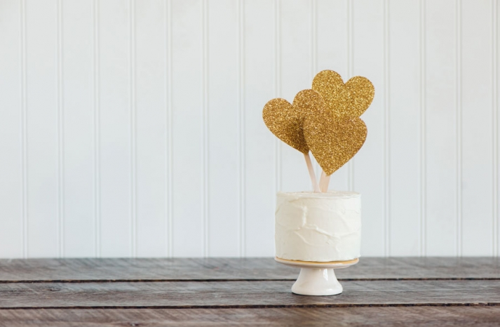 gold glitter 3 hearts wedding cake topper