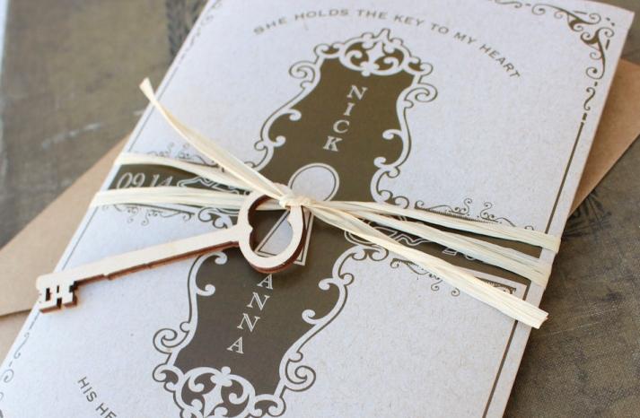 elegant gold and white wedding invites with heart shaped skeleton key