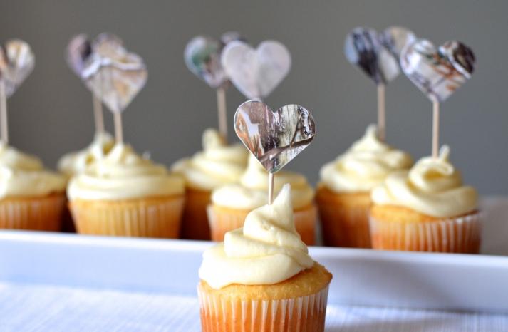 camo heart wedding cupcake picks