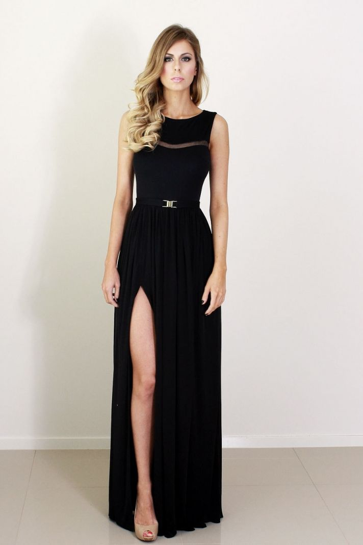 black bridesmaid dress with illusion detail and slit