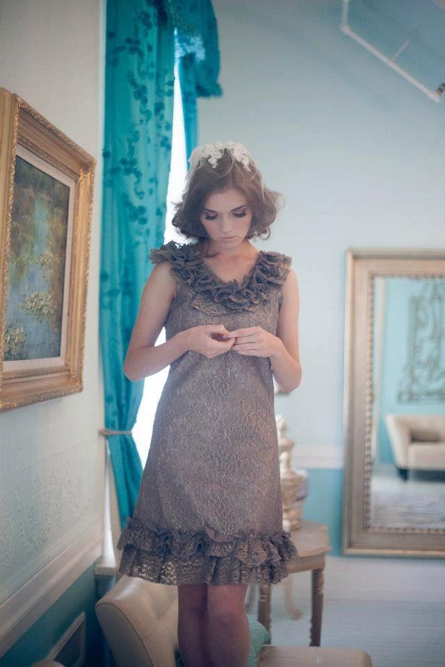 taupe ruffle neckline bridesmaid dress