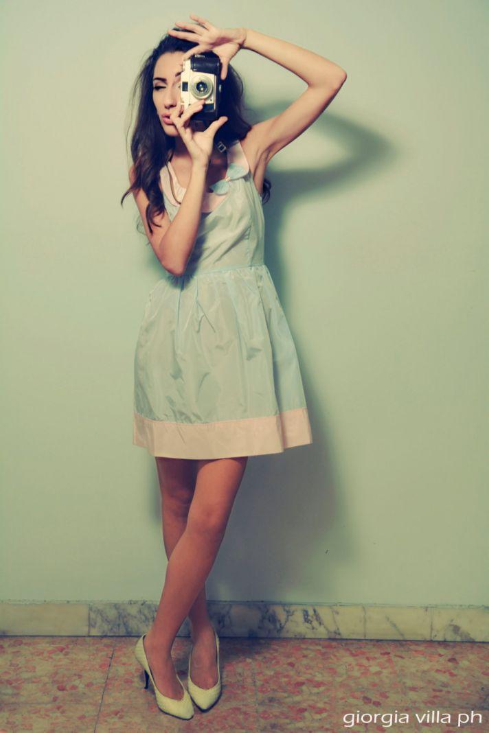 retro pastel aqua and blush bridesmaid dress