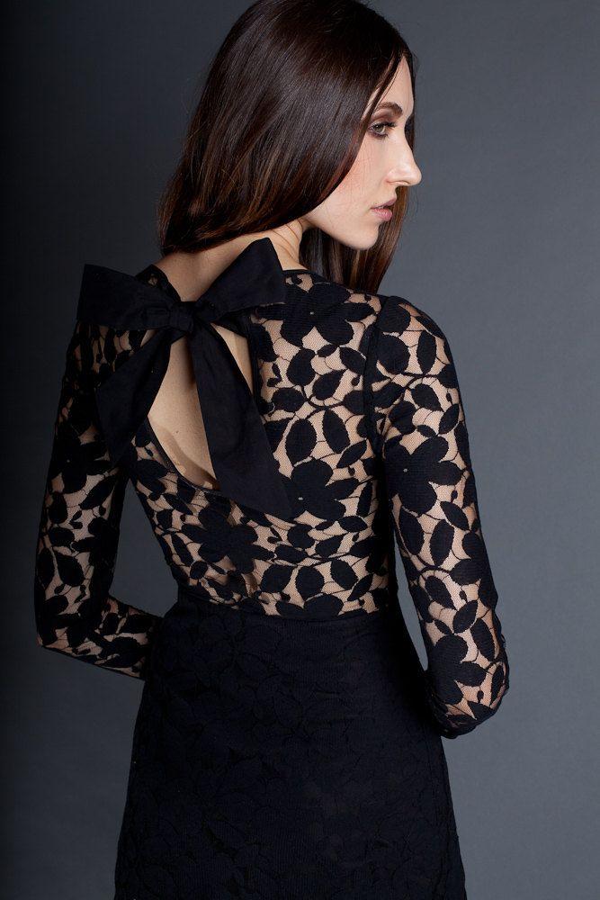 sheer lace back black bridesmaid dress