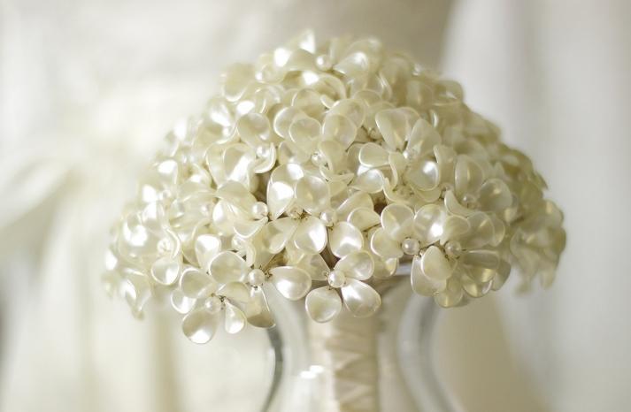 pearl beaded flowers wedding bouquet