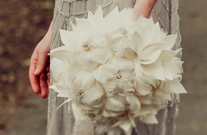 ivory feather elegant bridal bouquet