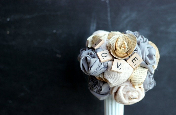 fabric paper and scrabble tiles wedding bouquet
