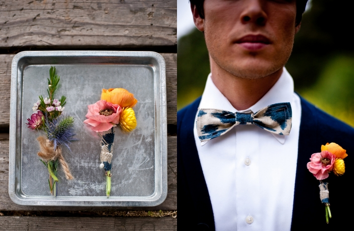 bright and whimsical floral boutonniere for grooms