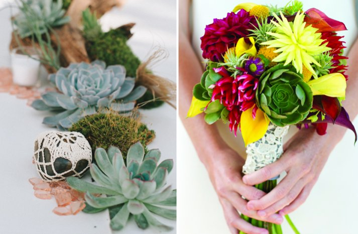 eco succulent wedding bouquet and tablescape with driftwood