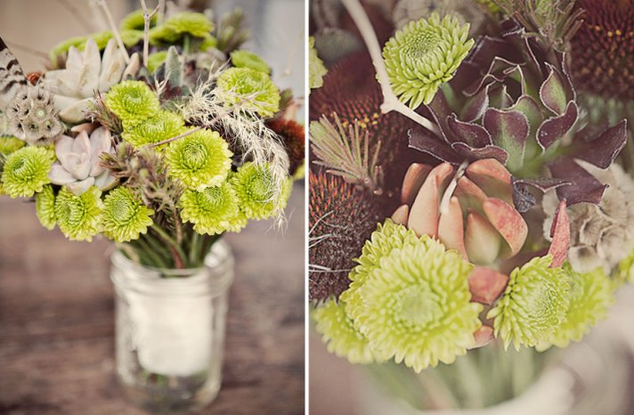 natural succulent bouquet with feathers