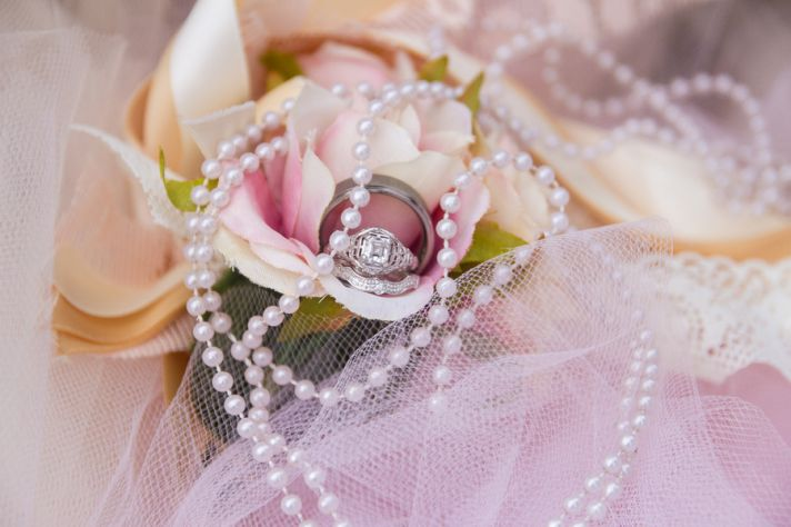 Ring shot in blush bouquet with pearls