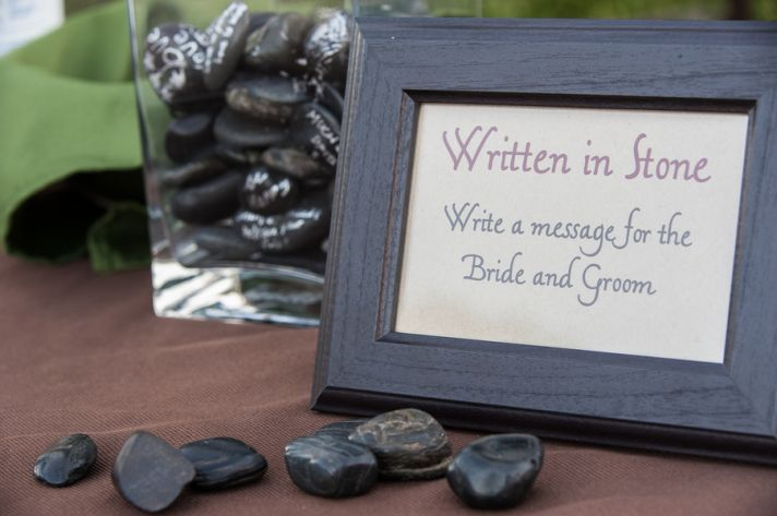 Messages on stone guest book idea