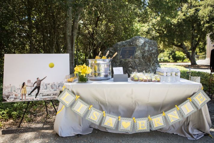 Guest favors table in grey and yellow