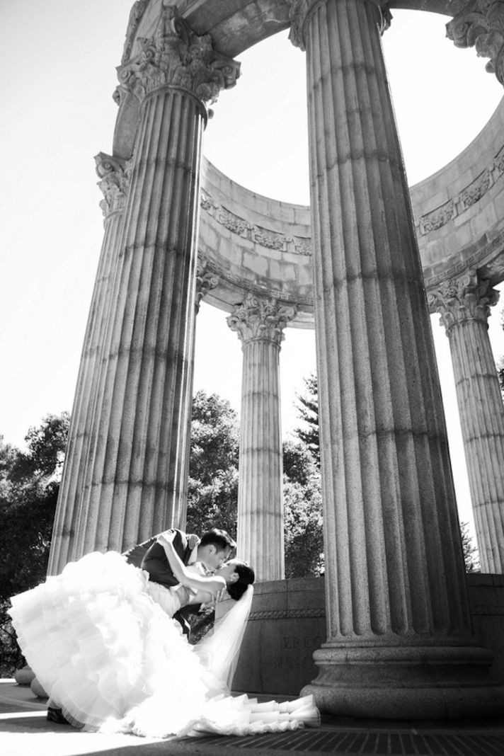 Real wedding couple at the Pulgas Water Temple