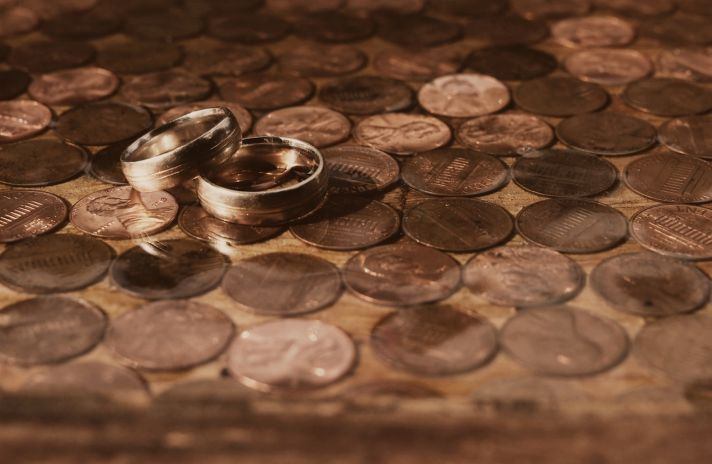 Wedding band photo on pennies