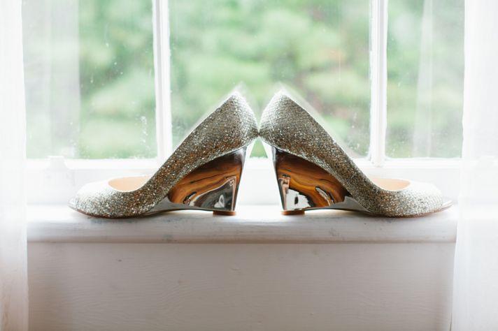 Silver glitter wedding heels