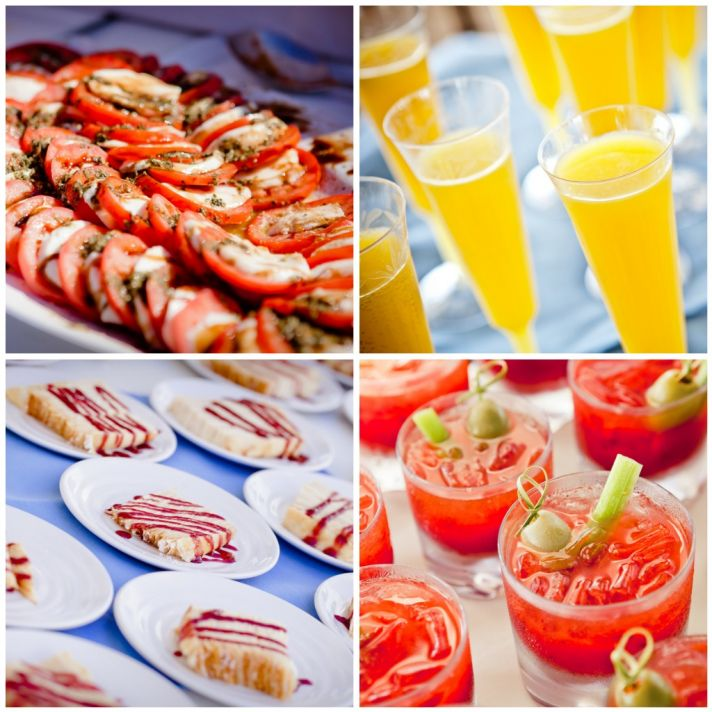 Casual beach wedding food and drinks