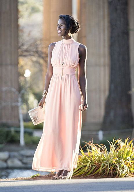 Blush floor lenght bridesmaids dress