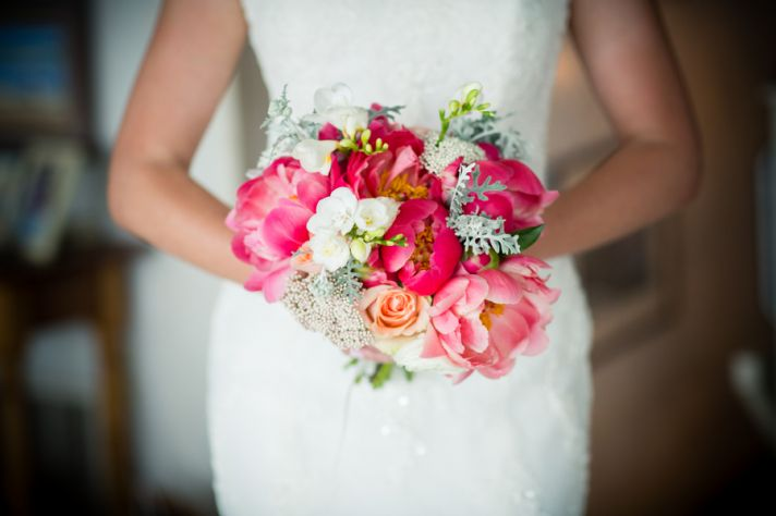 Bridal bouquet with peonies and ranunculus