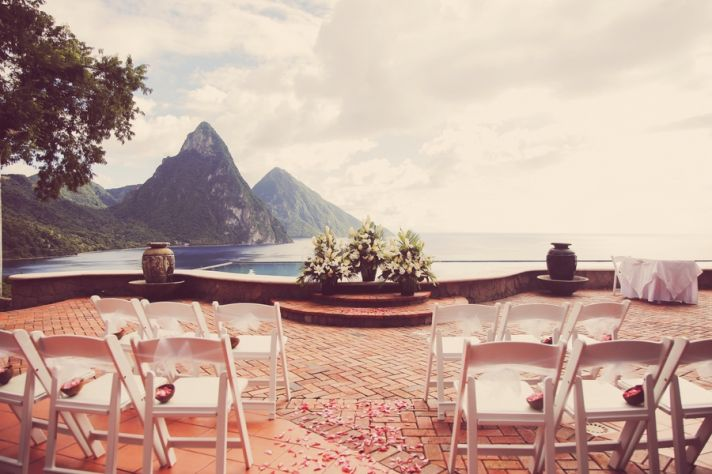St Lucia Wedding Ceremony Overlooking The Pitons